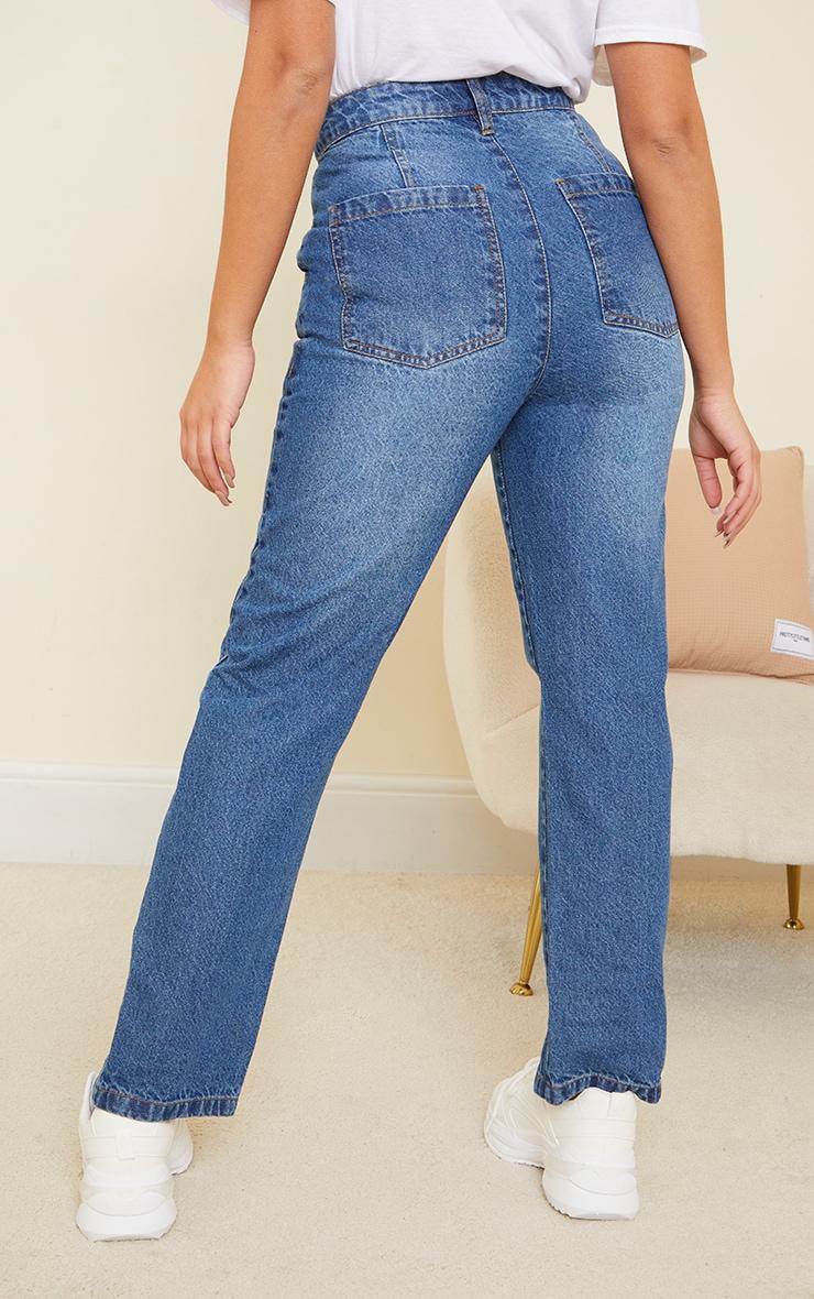 Petite Mid Blue Button Detail Split Hem Mom Jeans 3