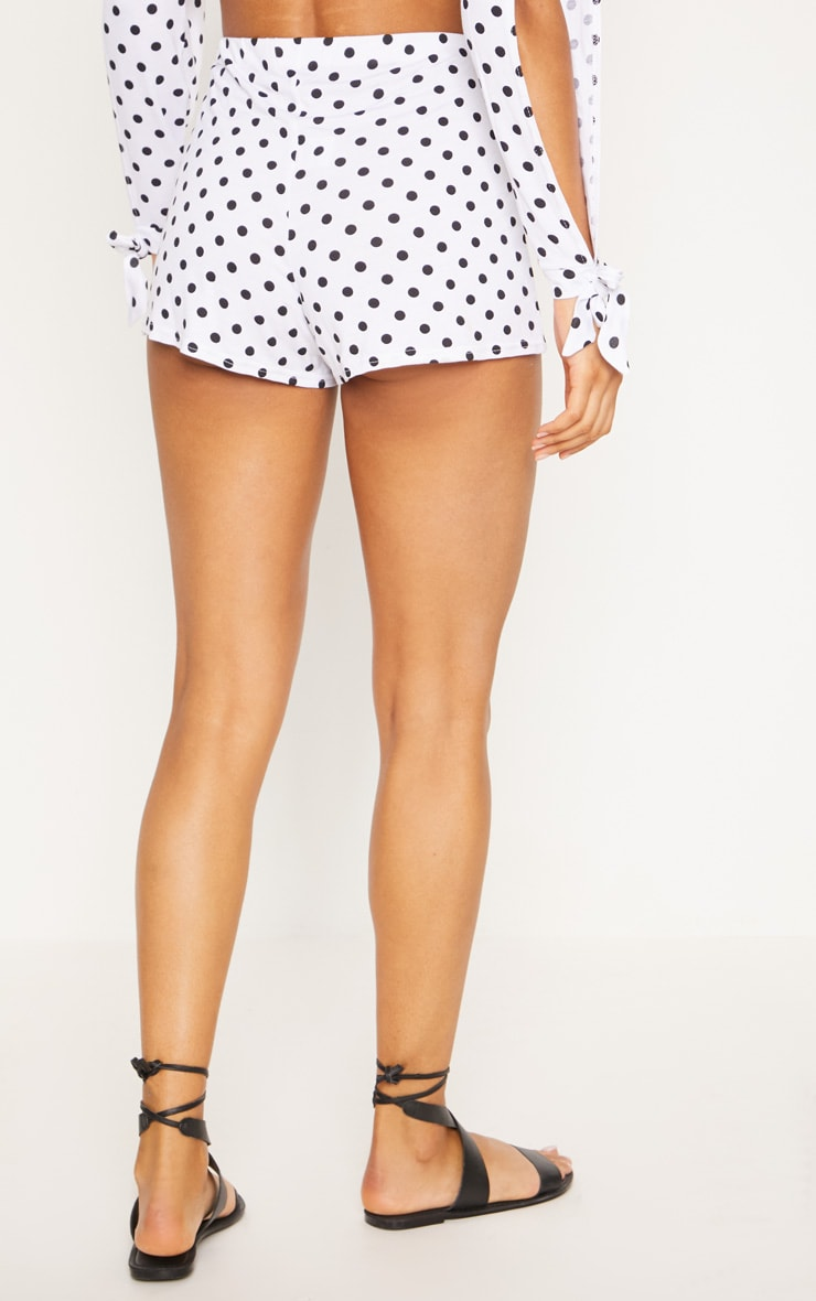 White Polkadot Jersey Flared Sleeve Tie Crop Top 4