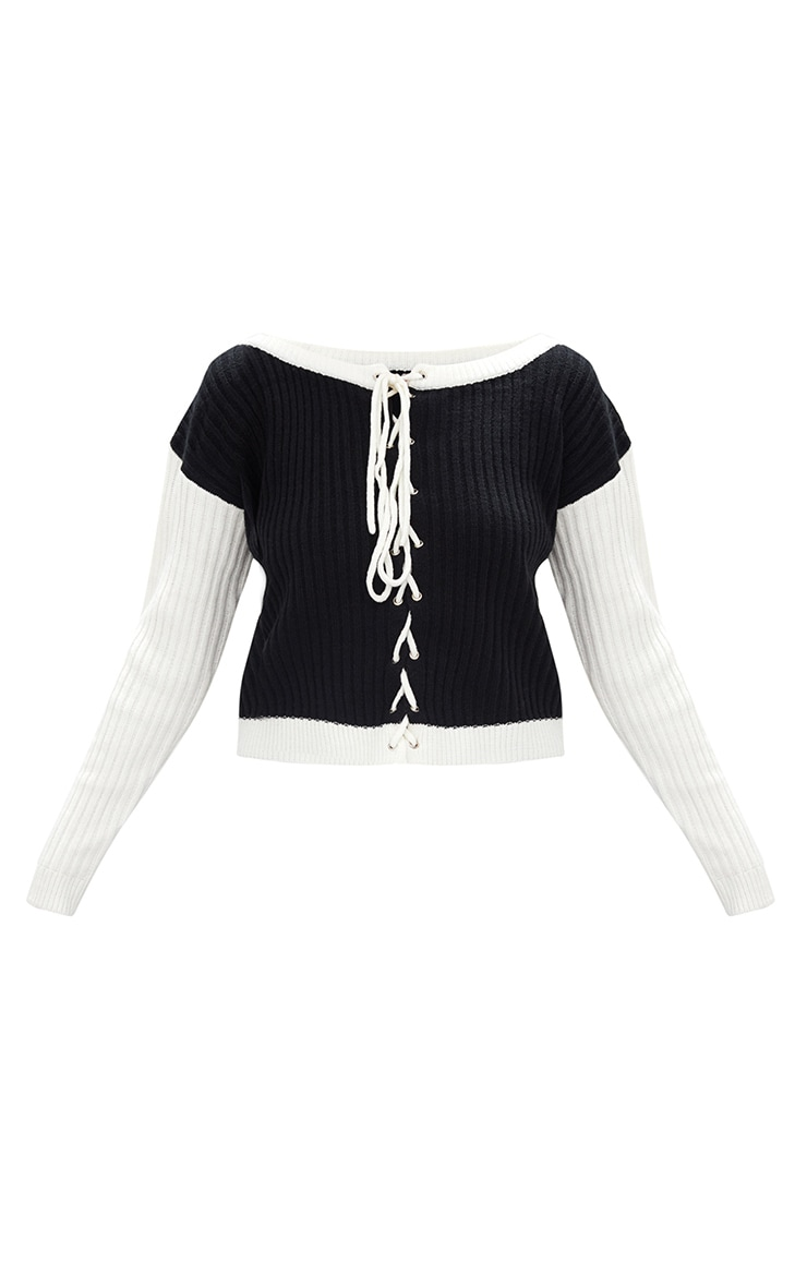 Black Lace Up Cropped Knitted Jumper  3