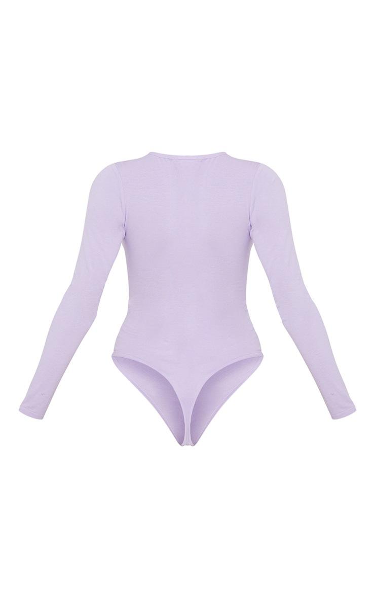 Basic Lilac  Crew Neck Long Sleeve Bodysuit 6
