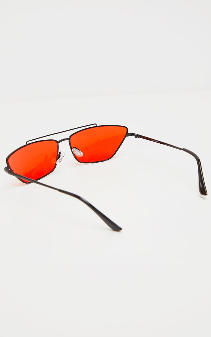 Black Trim Red Lens Double Bar Cat Eye Sunglasses 3