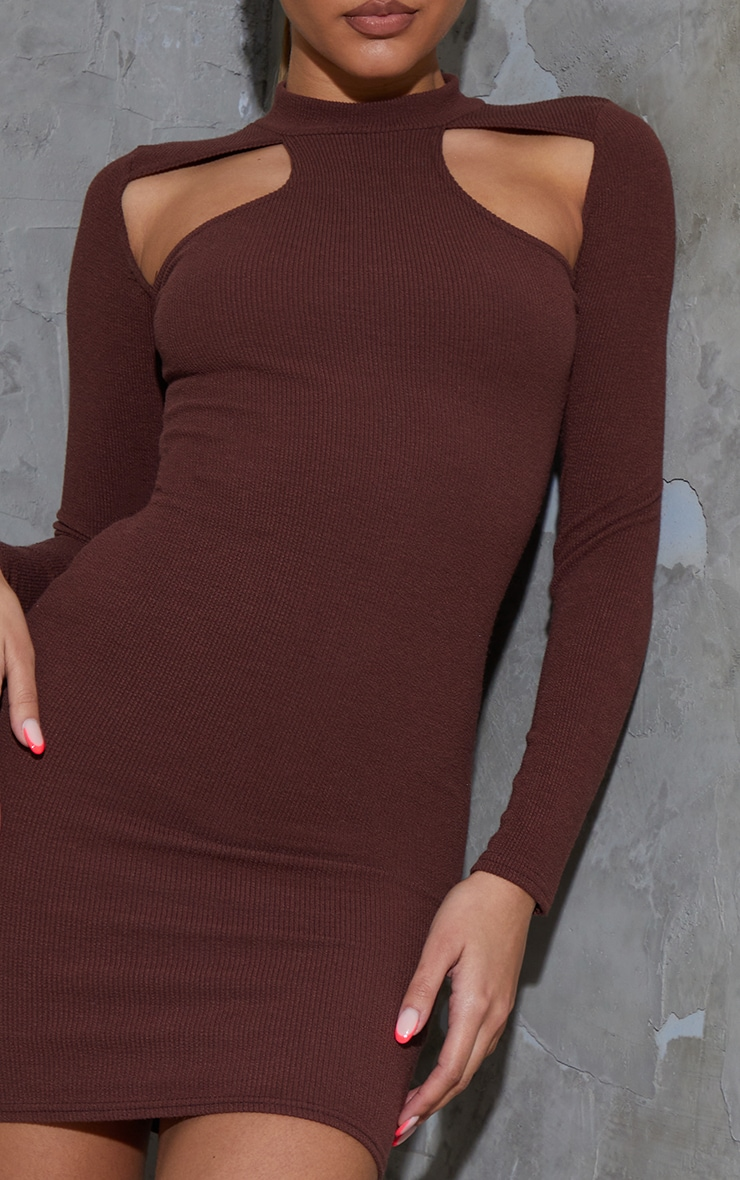 Chocolate Washed Rib Cut Out Chest Detail Long Sleeve Bodycon Dress 4