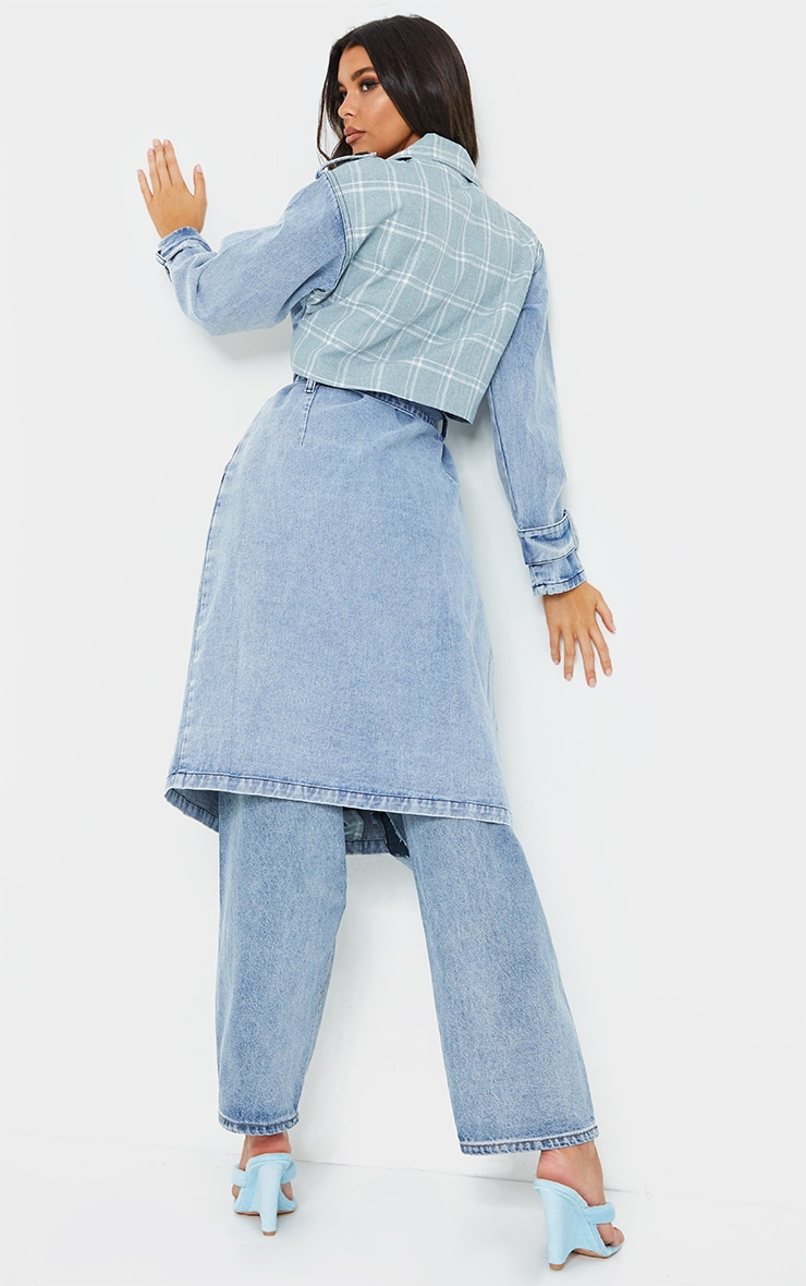 Vintage Wash Mixed Check Detail Longline Denim Trench Coat 2