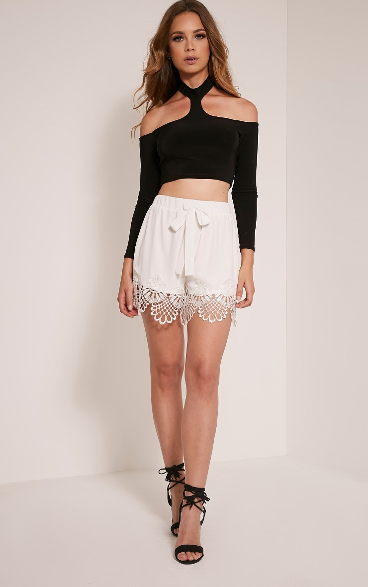 Felicity White Crochet Lace Trim Short  3