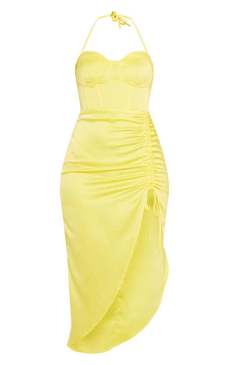 Yellow Satin Corset Detail Ruched Side Midi Dress 3