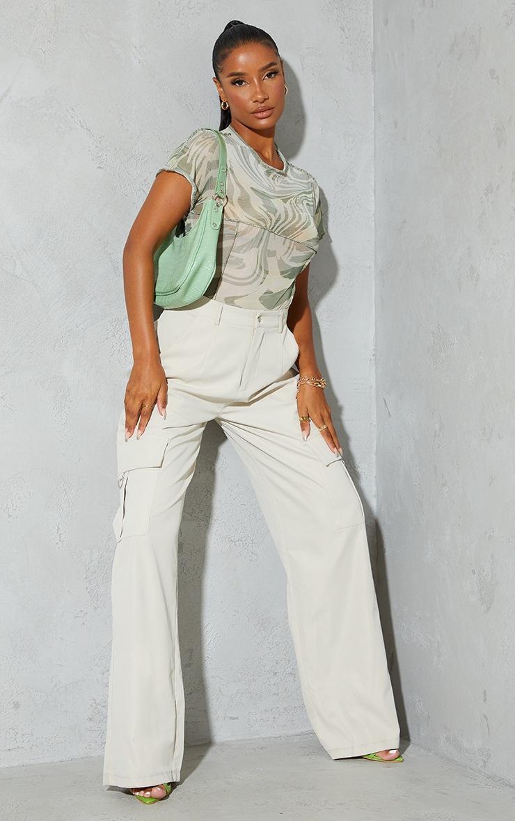 Sage Green Print High Neck Contrast Seam Short Sleeve Bodysuit 3