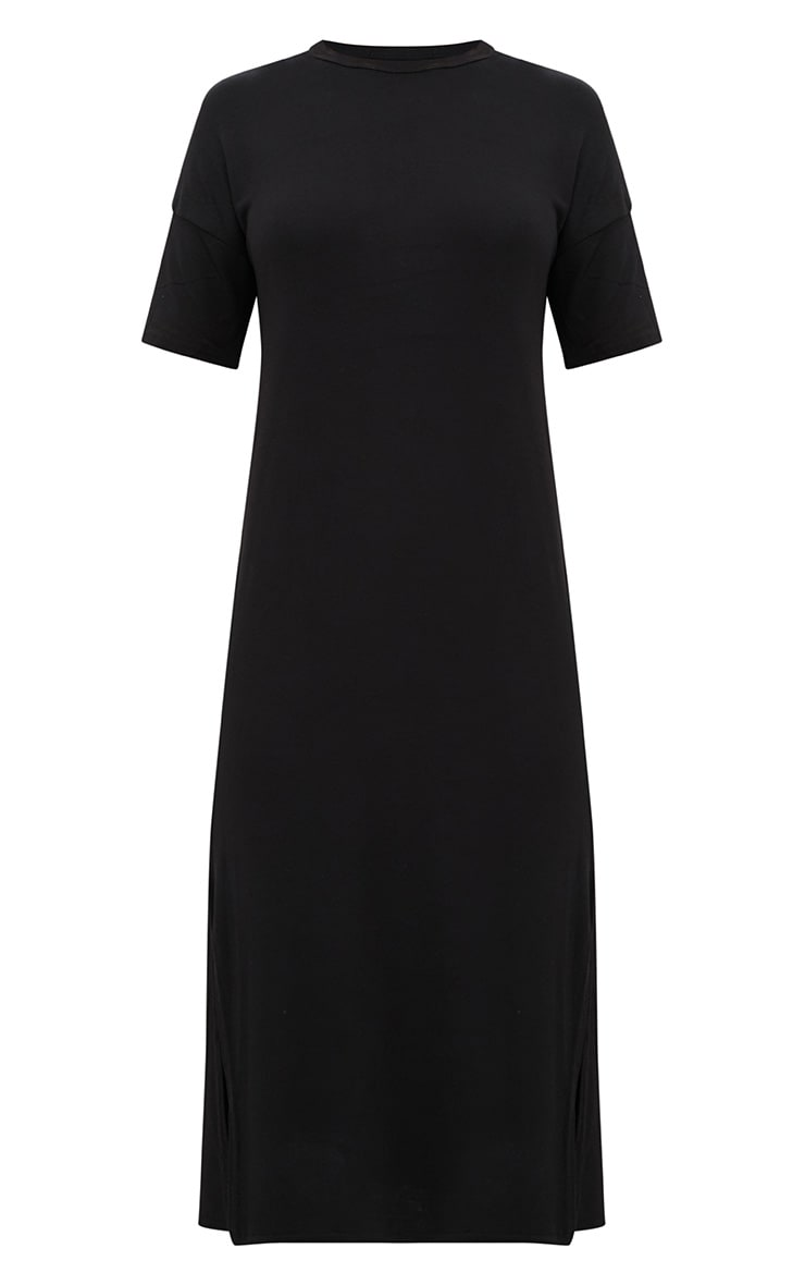 Black Jersey Short Sleeve Midi T Shirt Dress 3