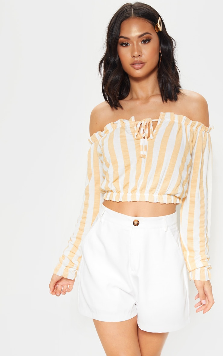 Nude Stripe Printed Bardot Long Sleeve Crop Top 1