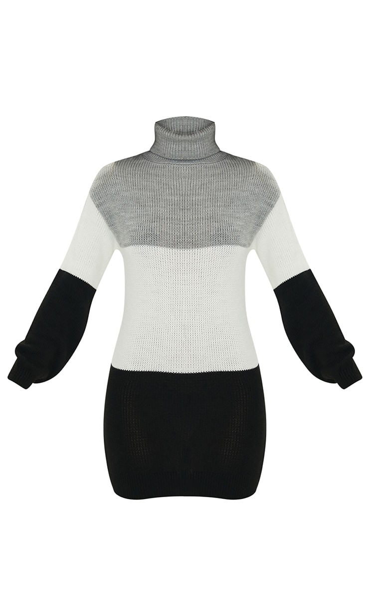 Grey Color Block Chunky Roll Neck Sweater Dress 5