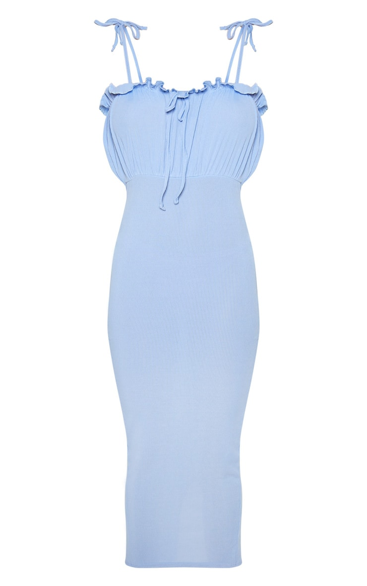 Baby Blue Ribbed Tie Detail Frill Edge Midi Dress