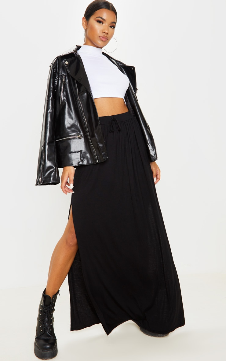 Black Jersey Drawstring Maxi Skirt 1