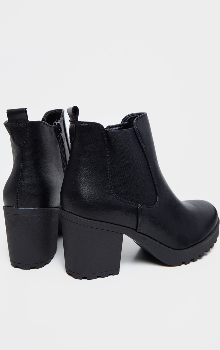 Black Cleated Chelsea Ankle Boots 3
