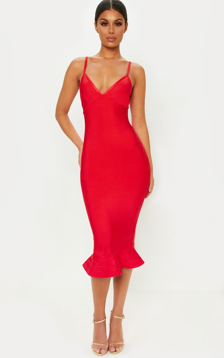 Red Bandage Strappy Frill Hem Midi Dress 1