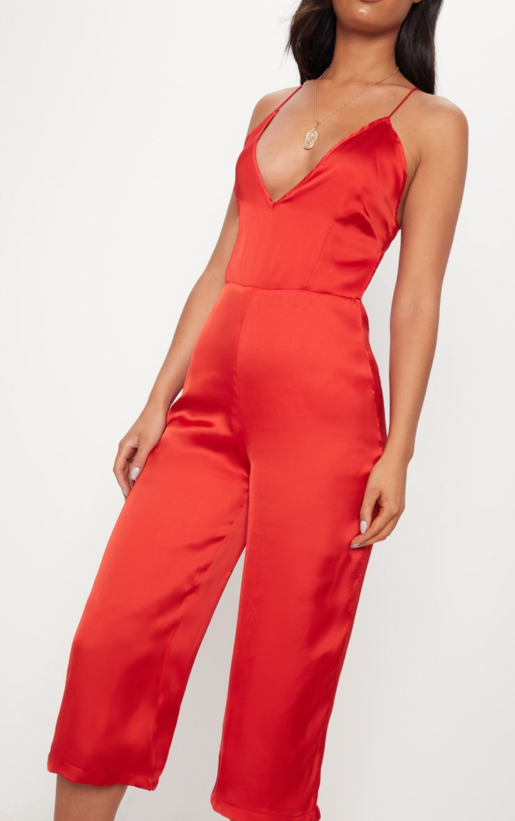 Red Strappy Back Plunge Culotte Jumpsuit 5