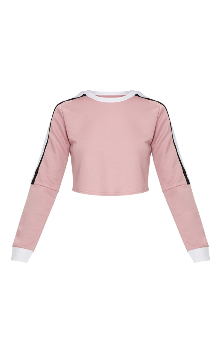 Rose Triple Shoulder Stripe Crop Sweater  3