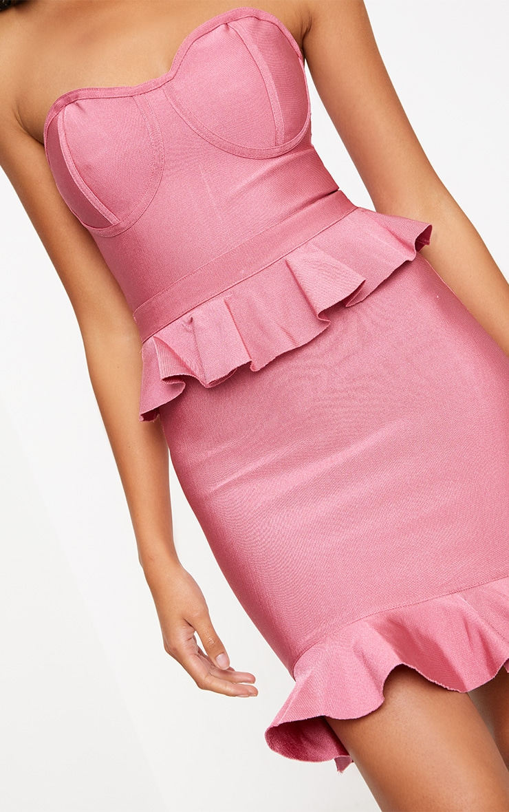 Rose Bandeau Bandage Frill Detail Bodycon Dress 5