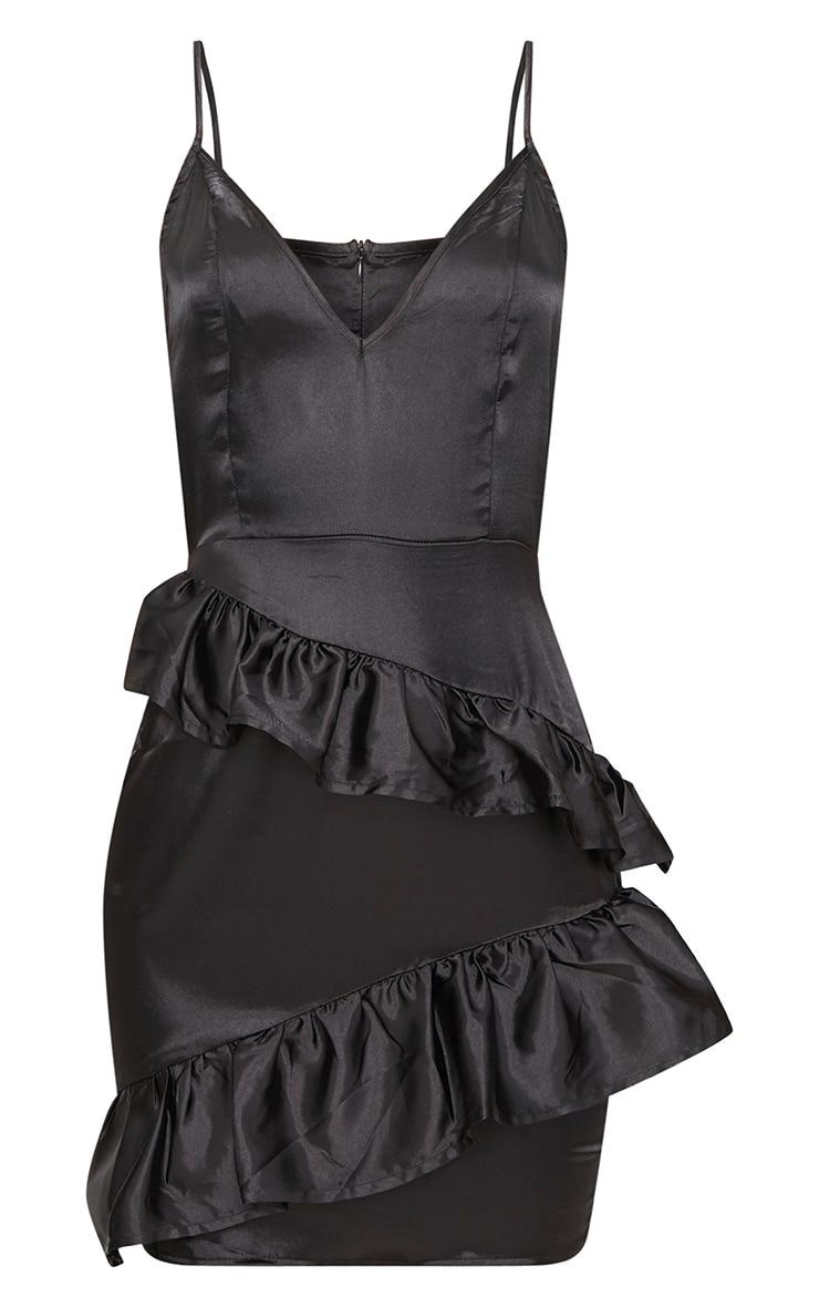 Black Plunge Frill Detail Satin Bodycon Dress 3