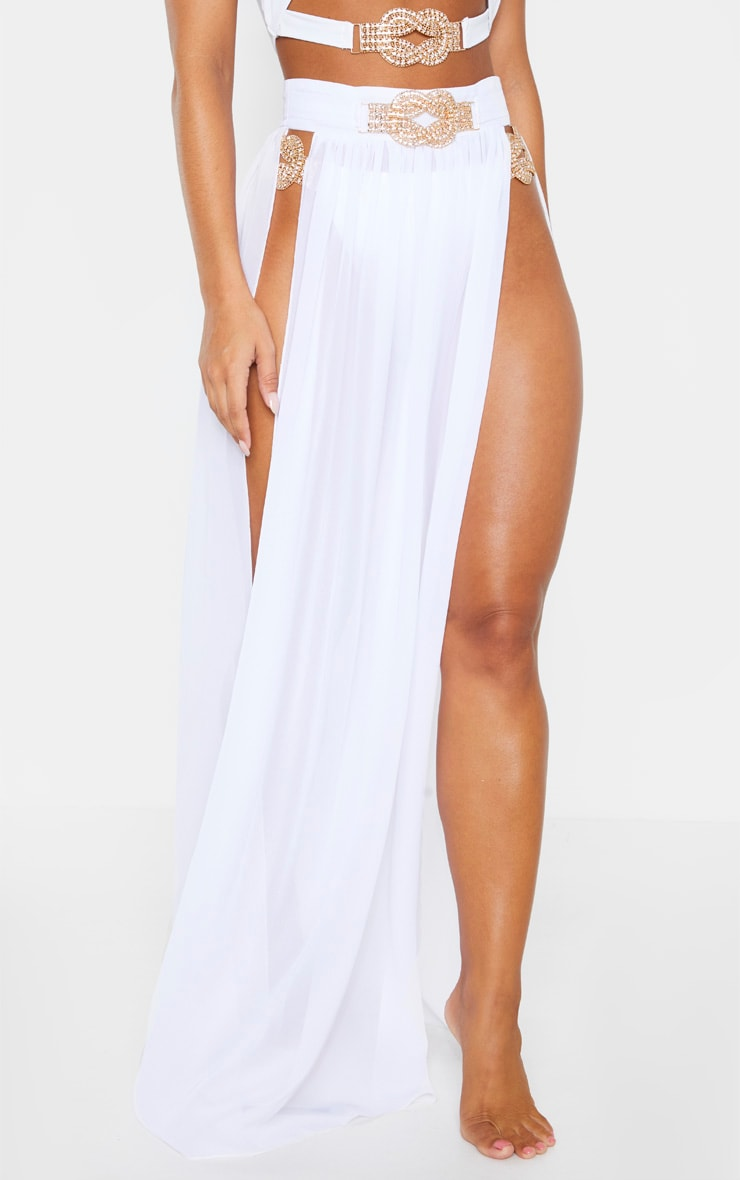 White Chiffon Diamante Jewel Beach Skirt 2
