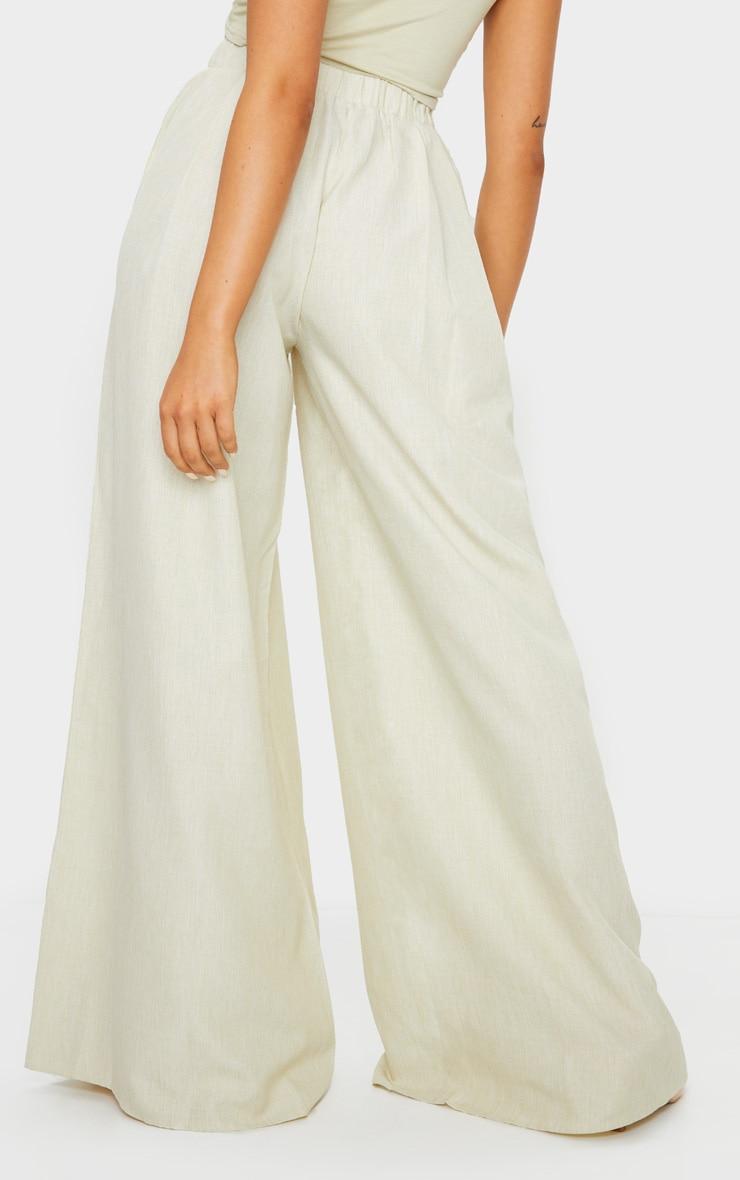 Khaki Linen Detail Print Wide Leg Pants 3