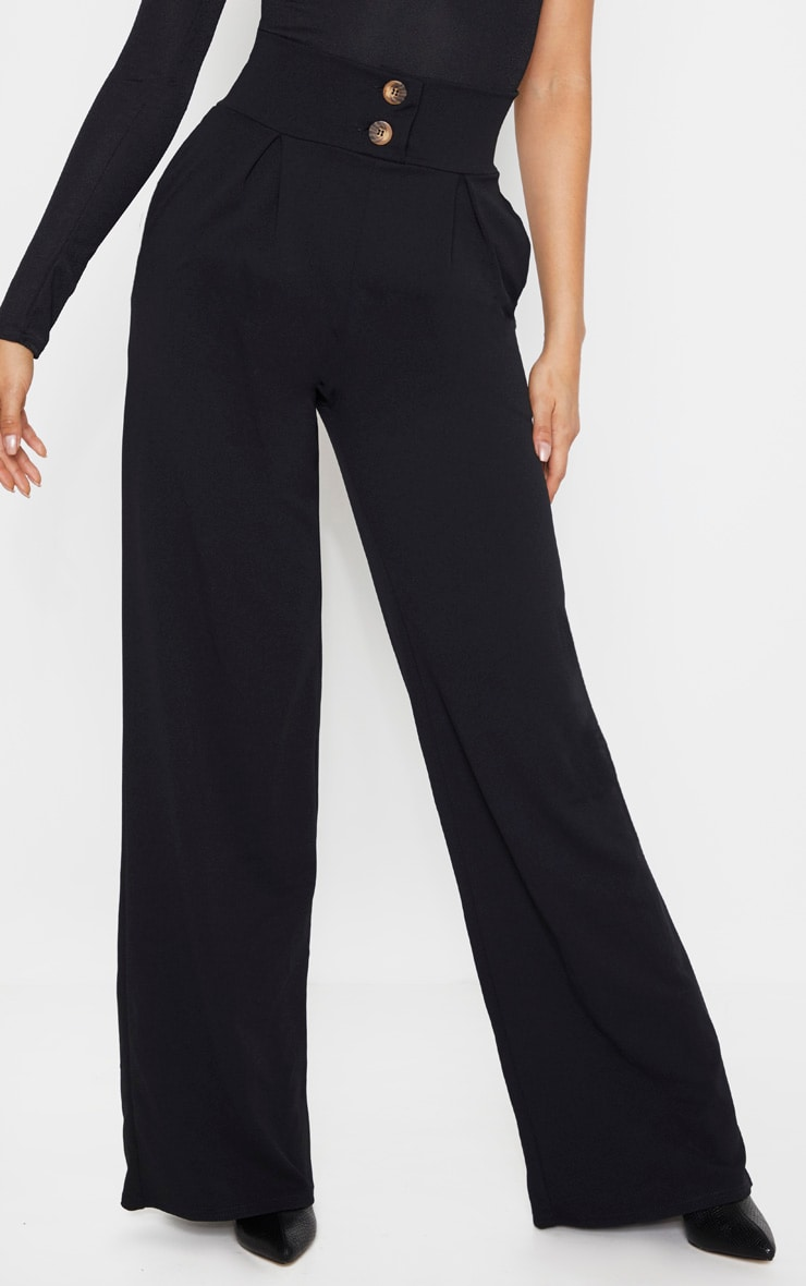 Tall Black Button Detail Crepe Wide Leg Pants 2