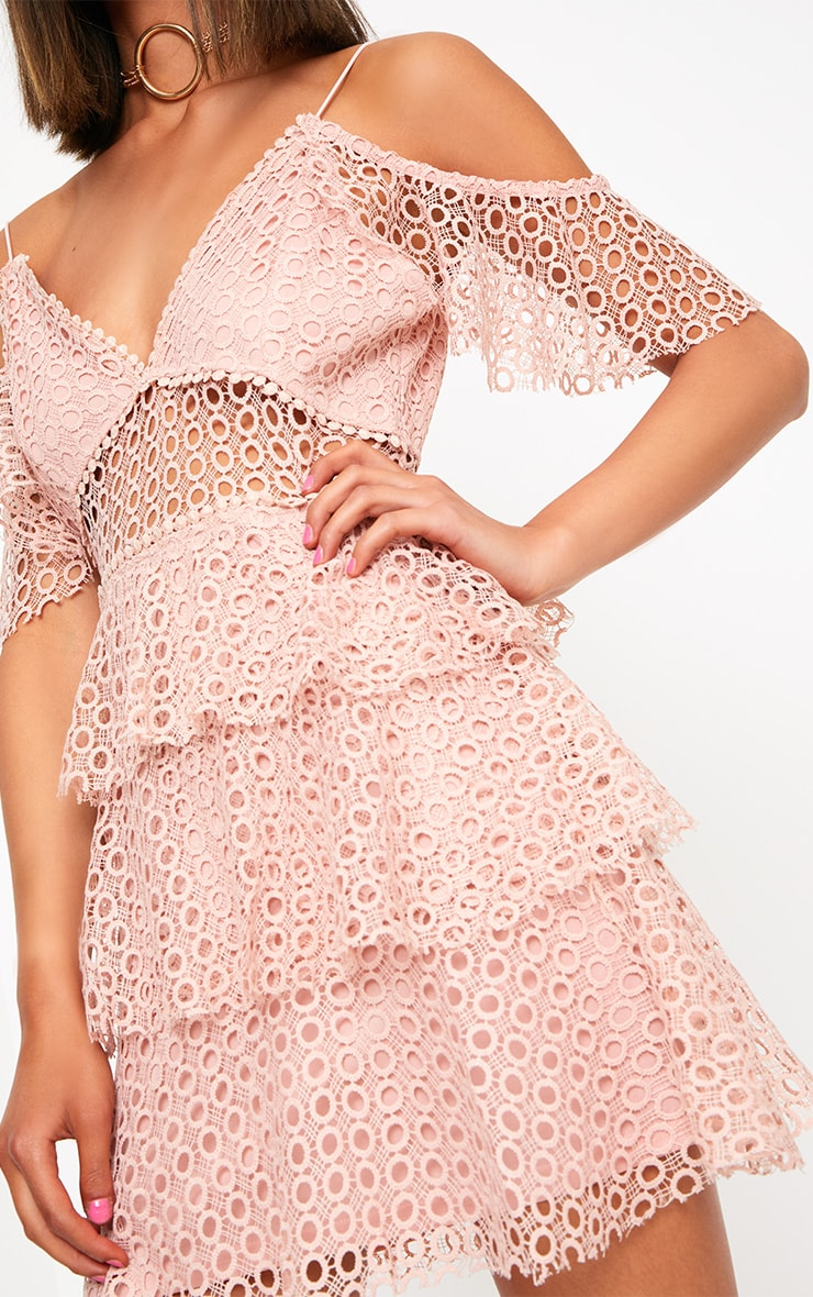 Dusty Pink Lace Cold Shoulder Shift Dress 5
