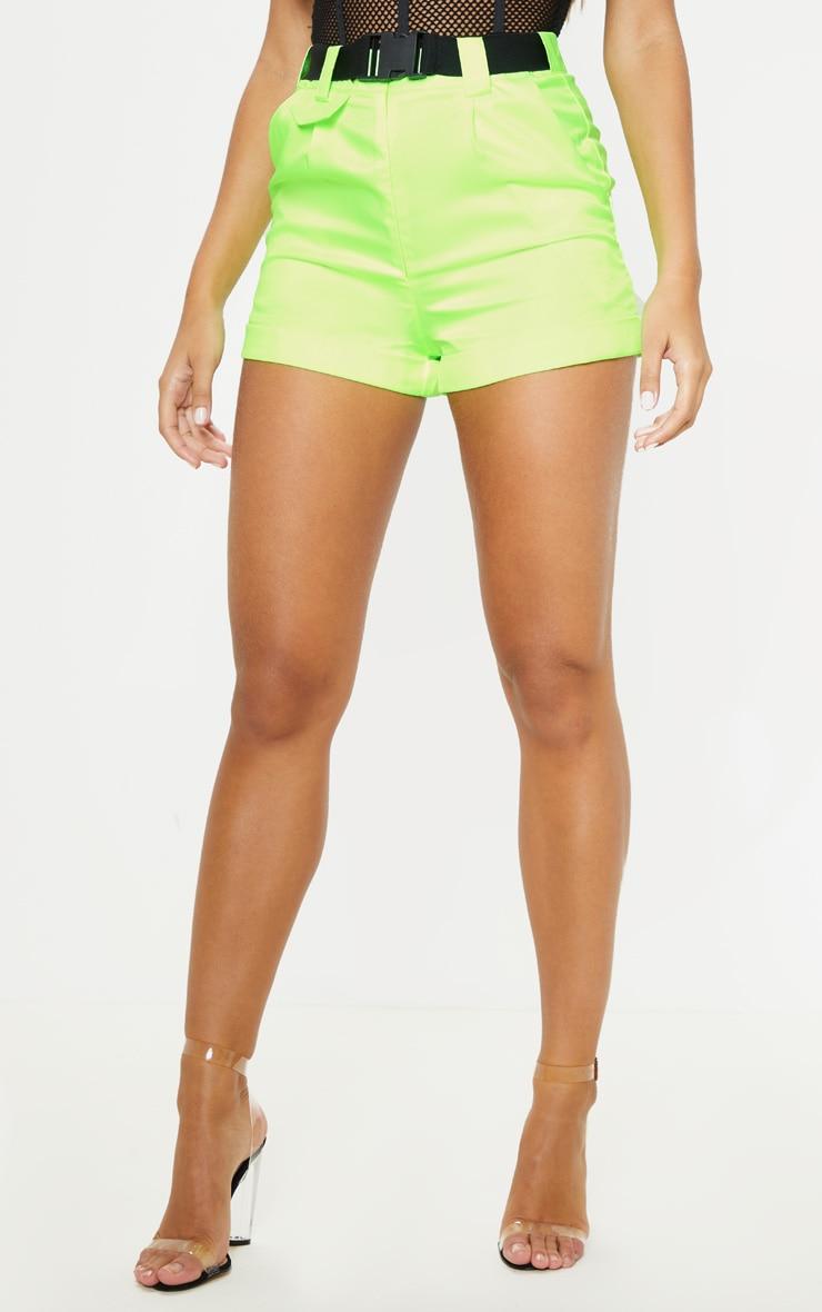 Neon Lime Woven Belted Turn Up Hem Short  2