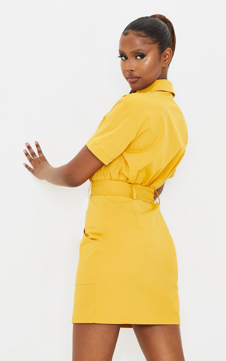 Mustard Woven Zip Through Belted Utility Shirt Dress 2