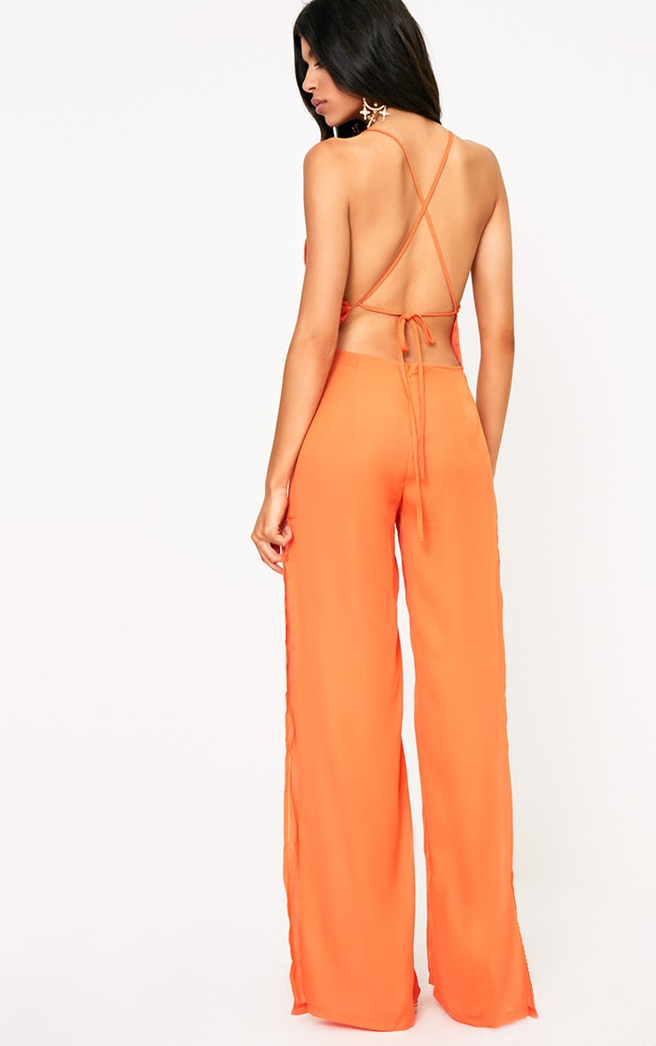 Orange Plunge Side Split Leg Jumpsuit  2