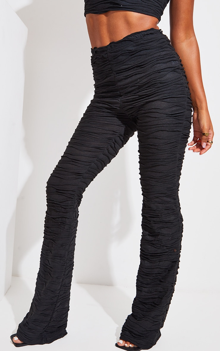 Black Pleated Jersey Skinny Flared Pants 2