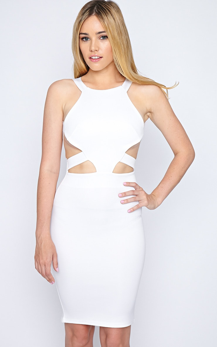 Saffron White Cut Out Midi Dress 3