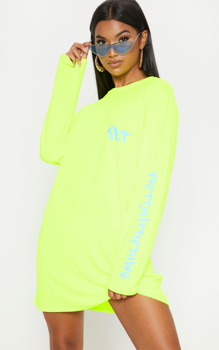 PRETTYLITTLETHING Yellow Slogan Long Sleeve T Shirt Dress