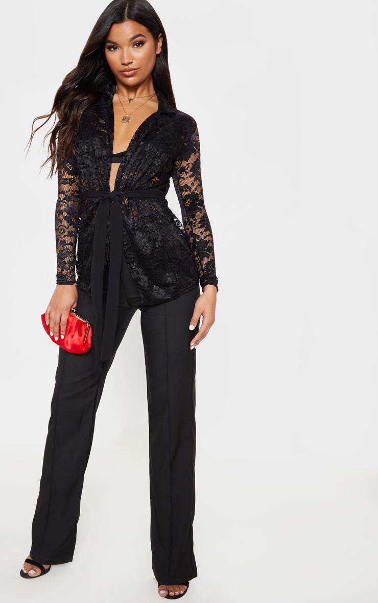 Black Lace Belted Blazer 4