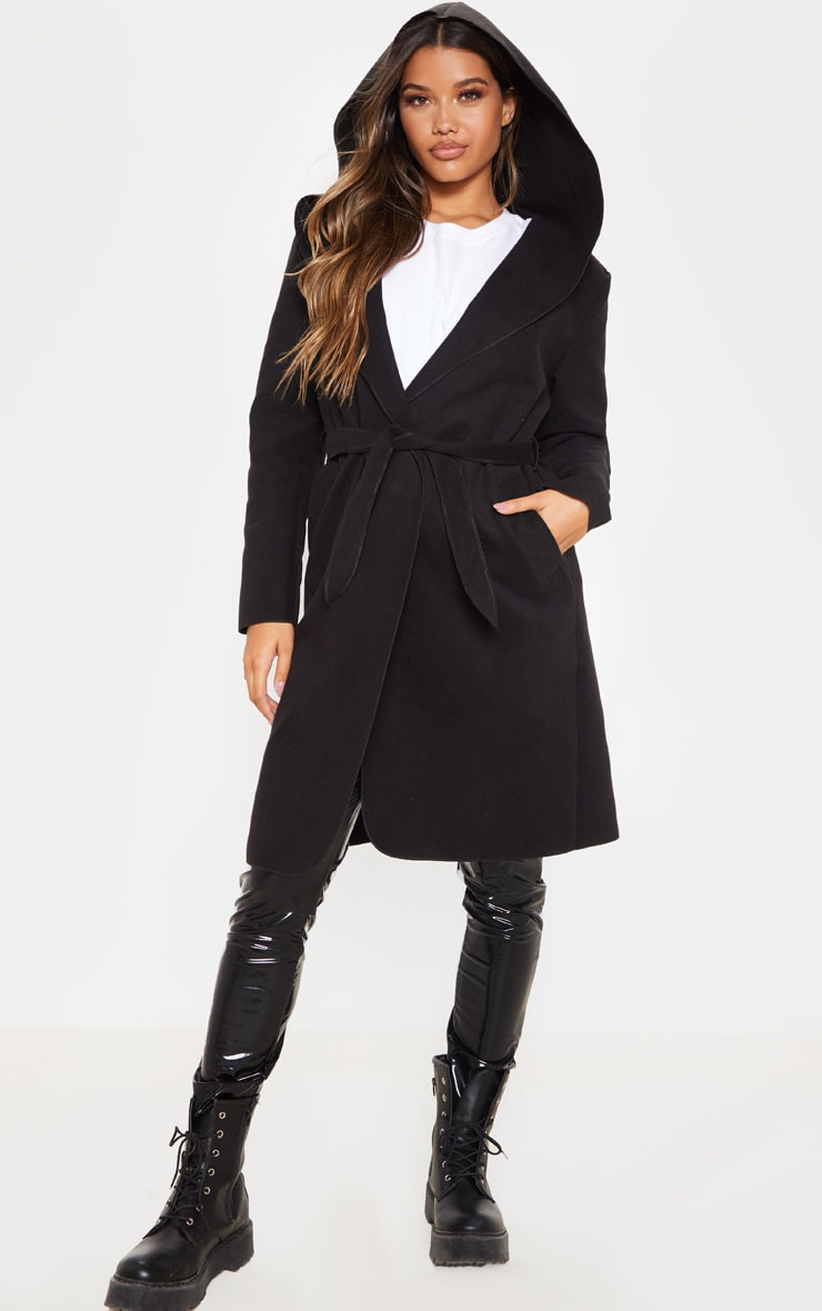 Black Waterfall Hooded Coat 4