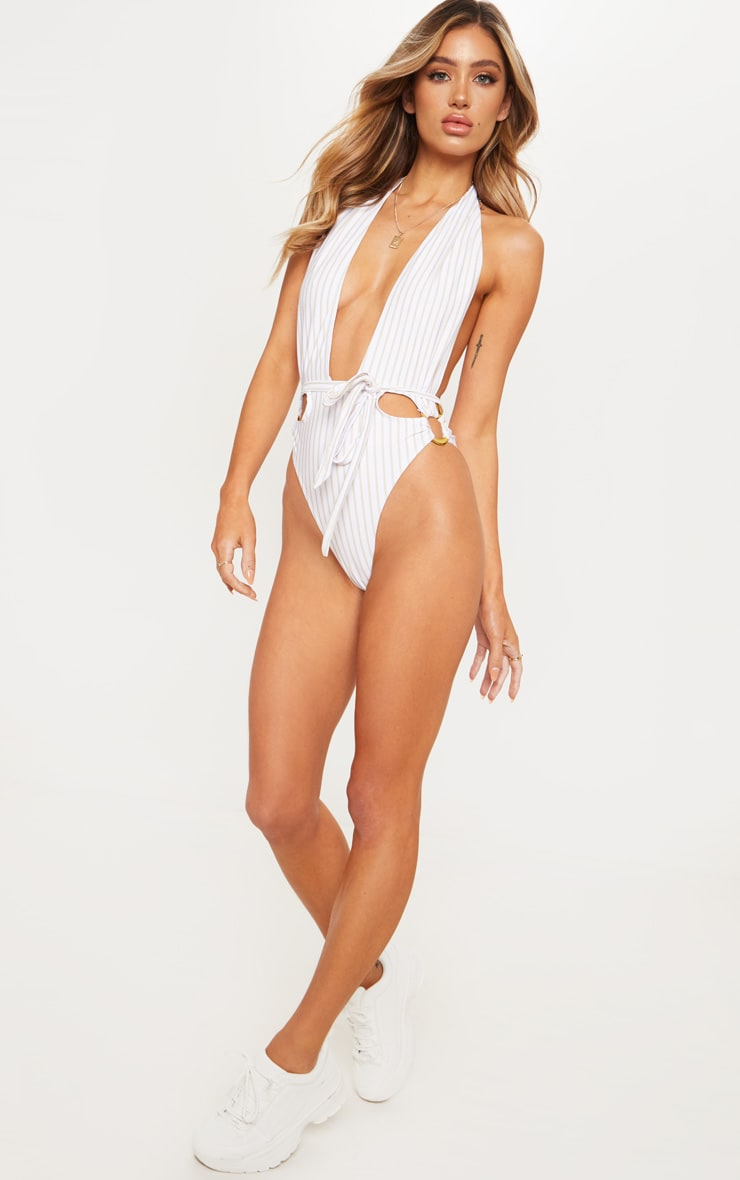 White Halterneck Striped Ring Belted Swimsuit 6