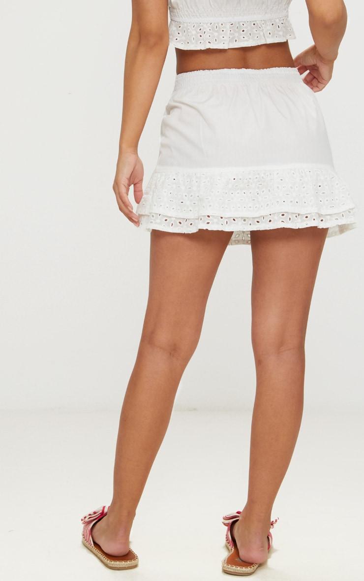 Petite White Broderie Anglaise Detail Mini Skirt 4