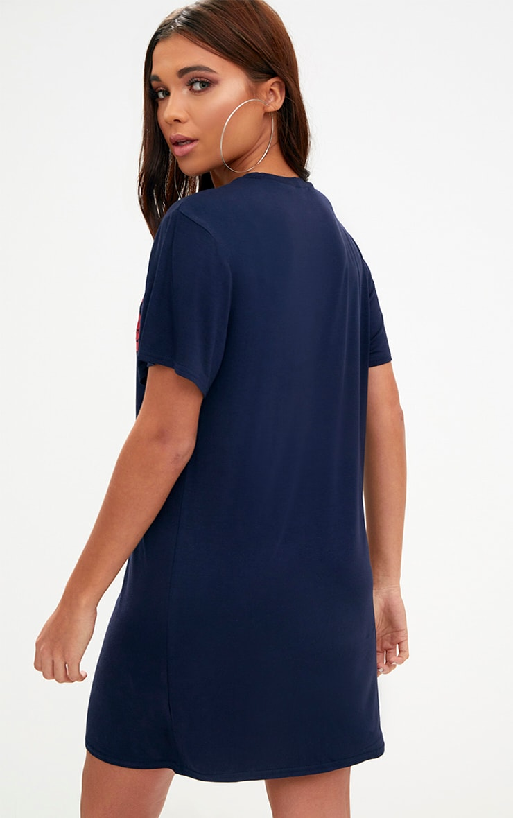 Navy No Time For Love T Shirt Dress 2