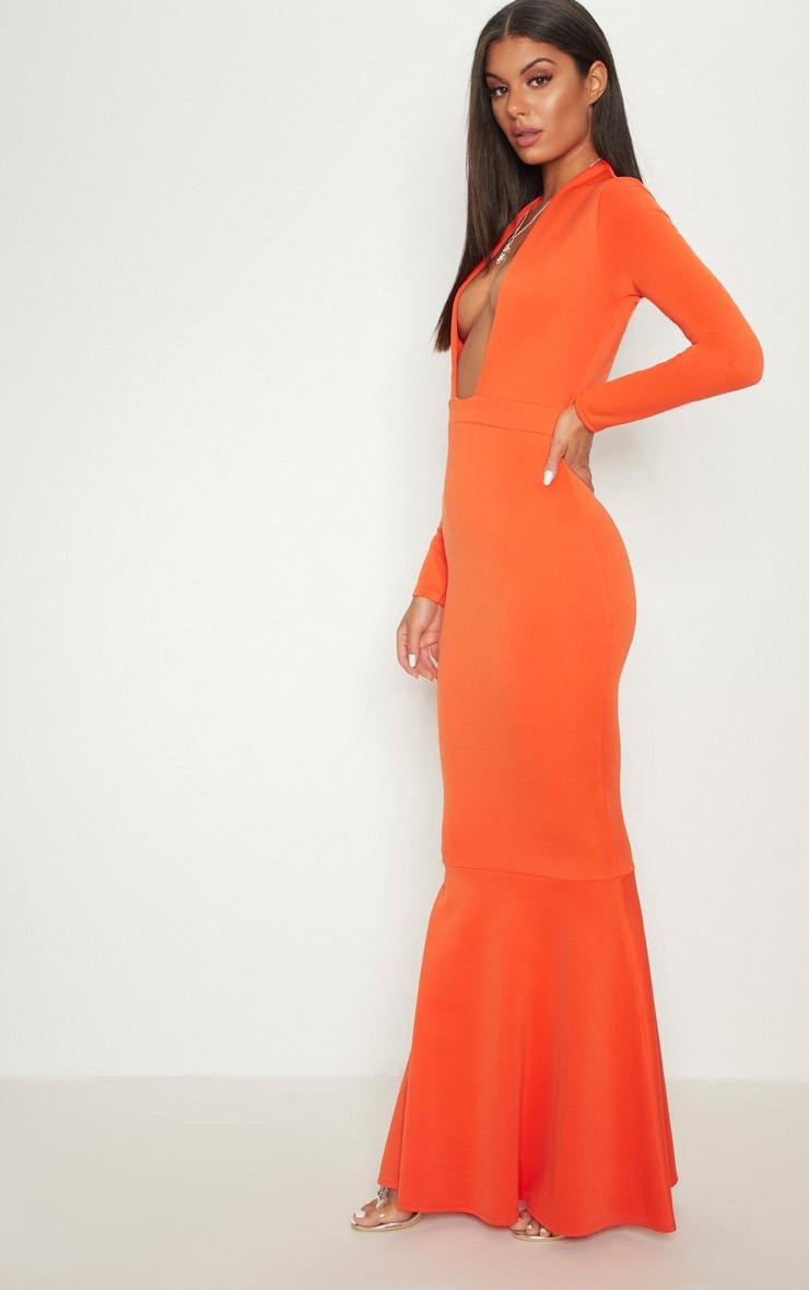 Bright Orange High Collar Detail Plunge Fishtail Maxi Dress 4