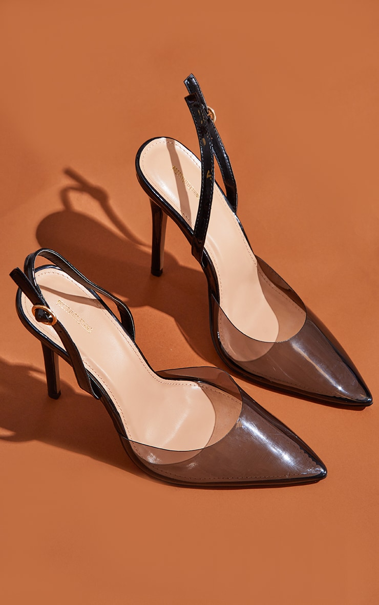 Black Smoked Clear Court Heels 4