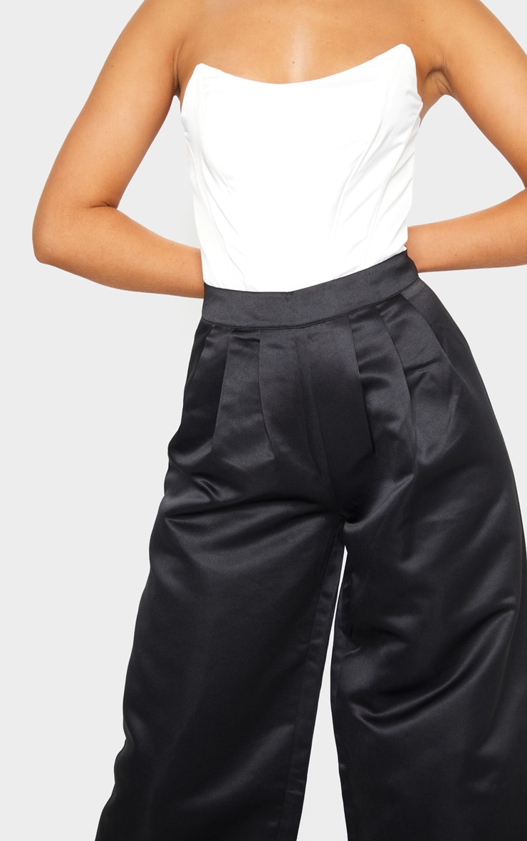 Black Pleat Detail Extreme Leg Trousers 4