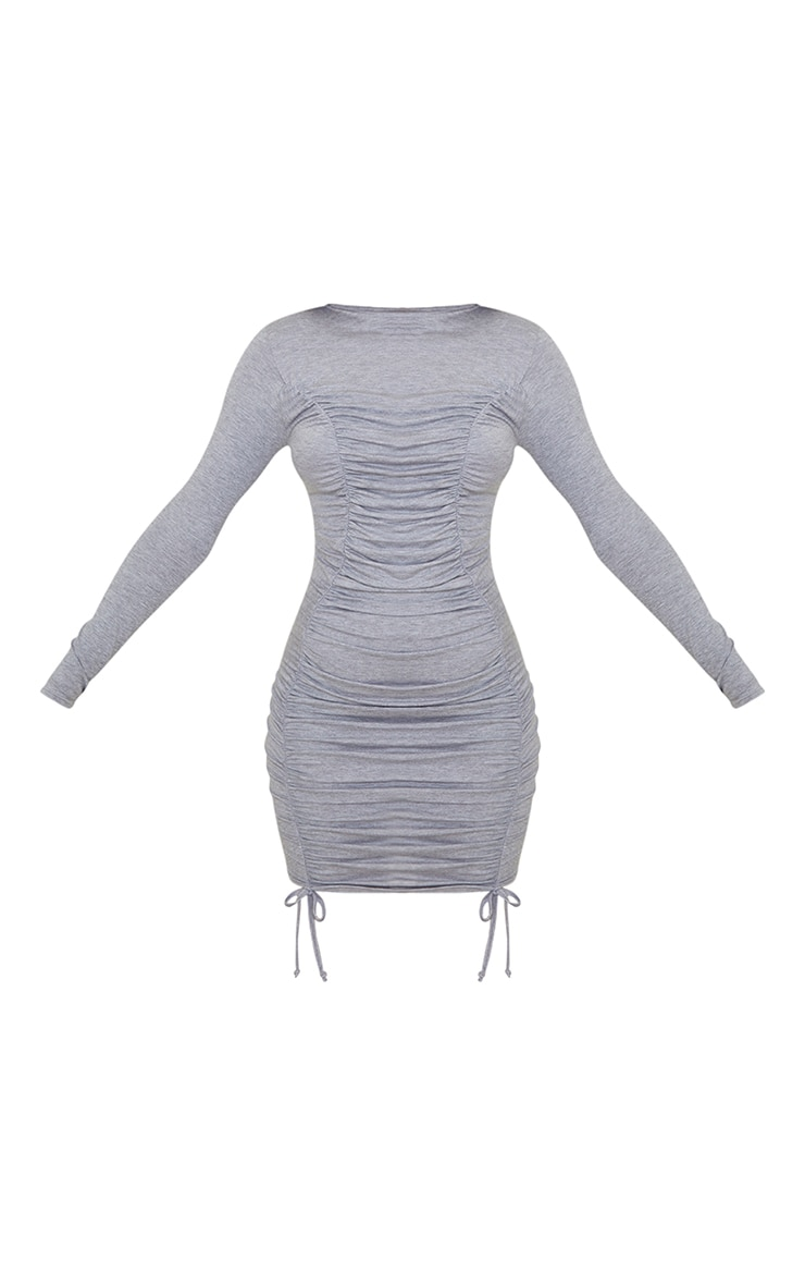 Grey Double Ruched Detail Long Sleeve Bodycon Dress 5