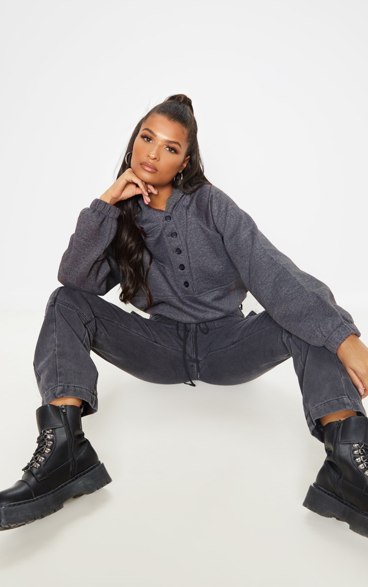 Charcoal Grey Button Front Oversized Hoodie 4