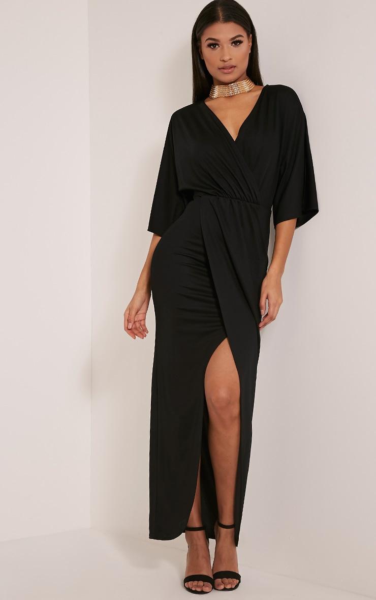 Archer robe maxi cape noire 1