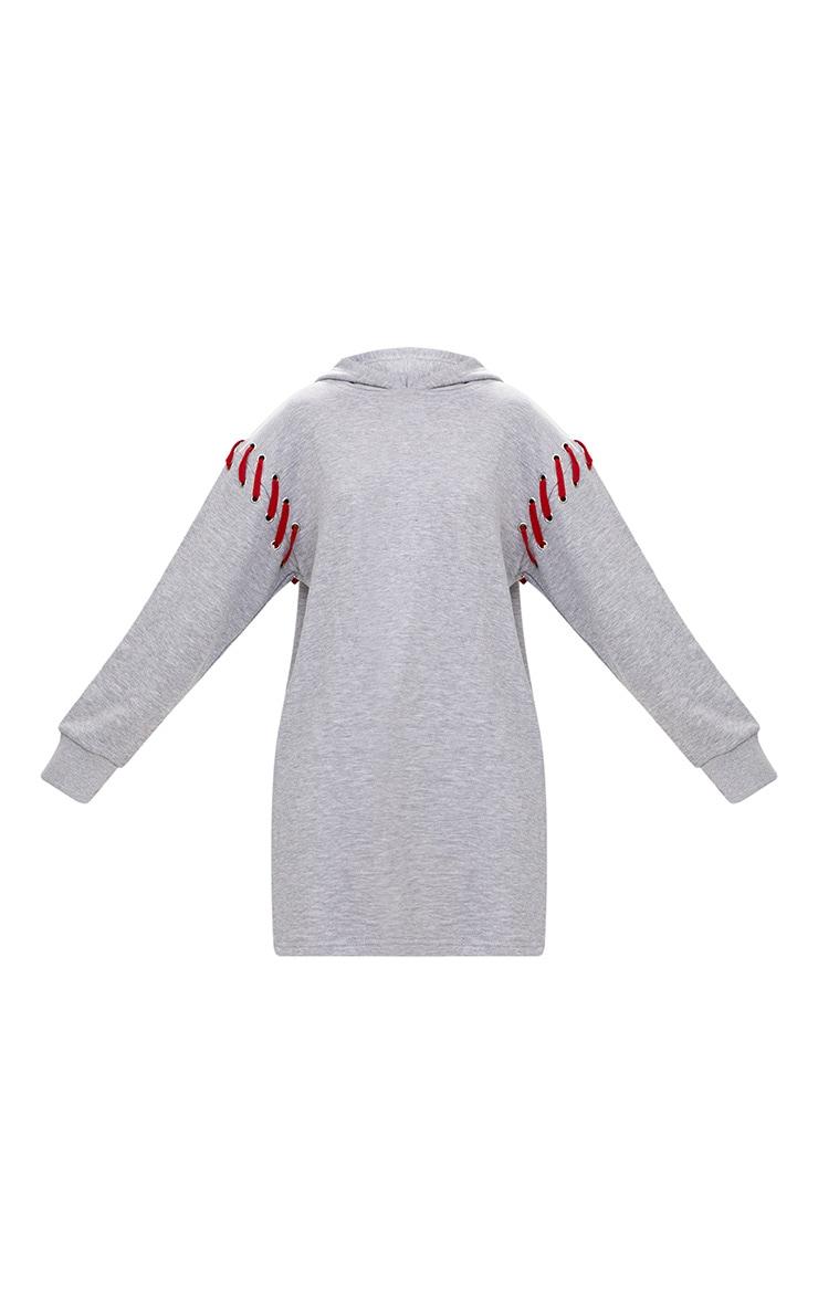 Grey Marl Loop Back Hooded Sweater Dress 3