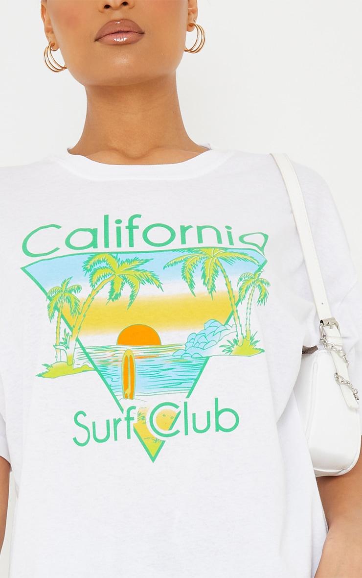 White California Surf Club Printed T Shirt 4