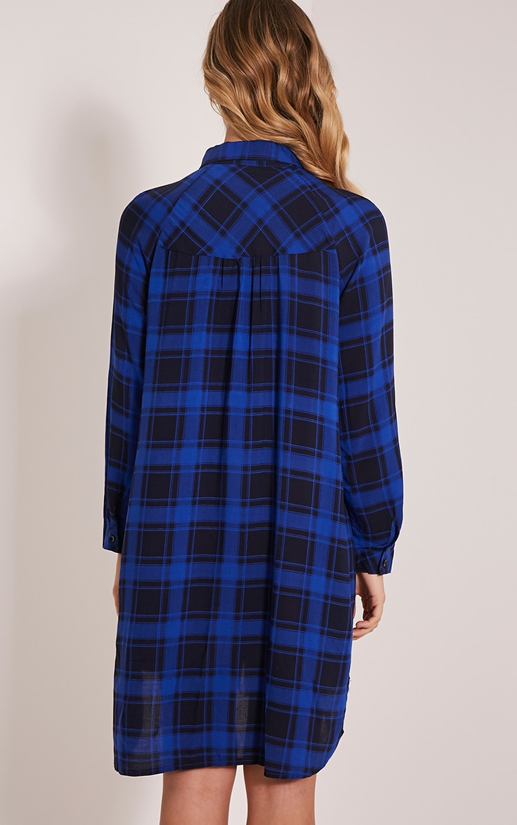 Ronah Cobalt Checked Shirt Dress 2