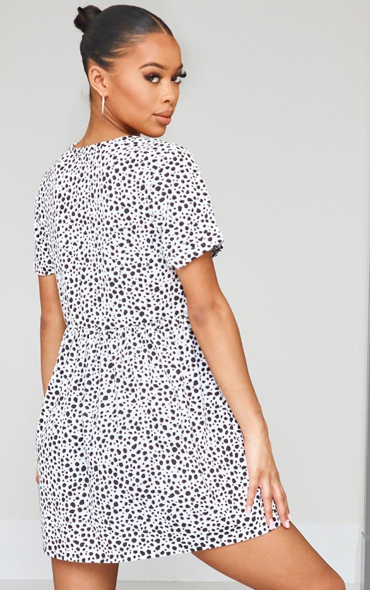 Recycled White Dalmatian Short Sleeve Smock Dress 2