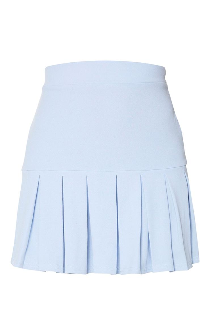 Baby Blue Pleated Step Hem Mini Skirt 6