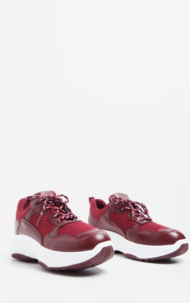 Burgundy PU Panel Chunky Sneakers 3