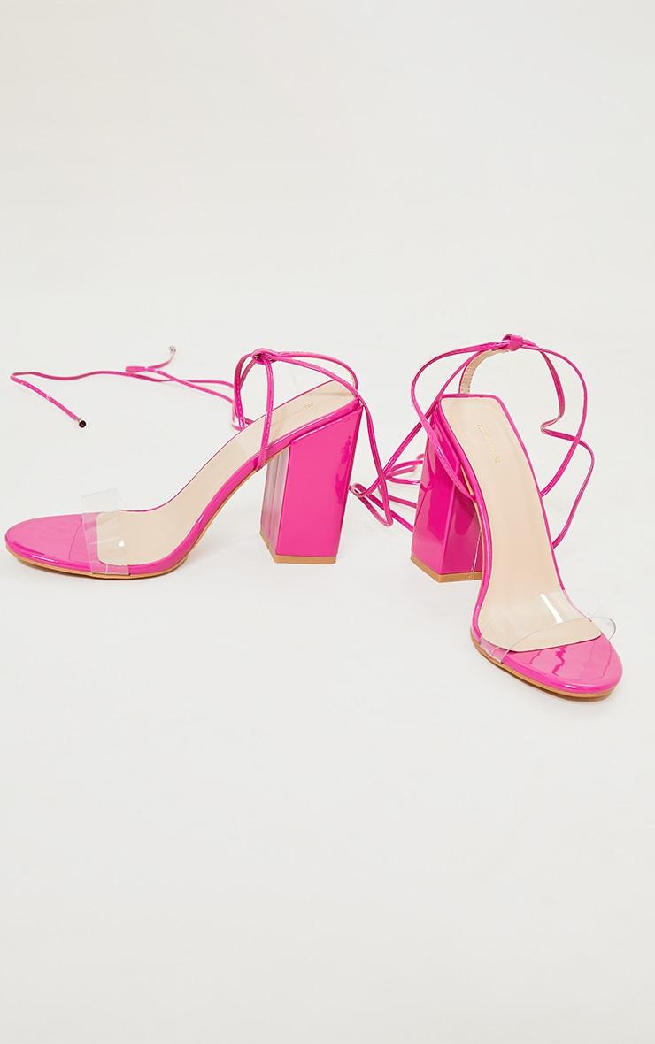 Pink Wide Fit Block Heel Ankle Tie Strappy Sandal 4