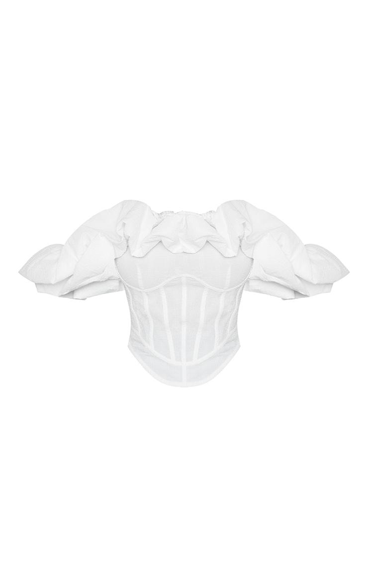 Petite White Oversized Ruffle Cropped Blouse 5